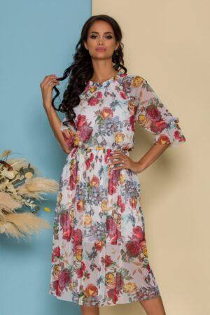 Rochie din tull alba cu imprimeuri florale