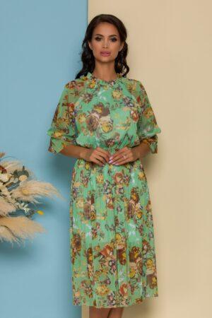 Rochie din tull verde cu imprimeuri florale