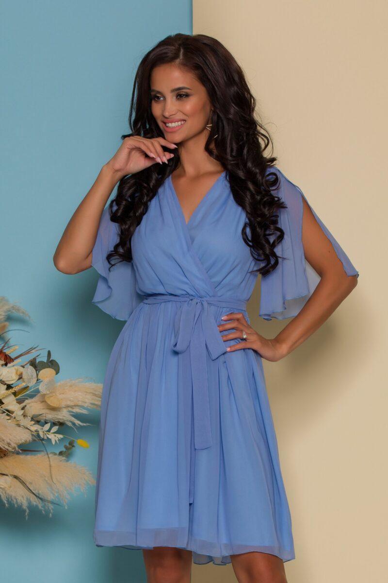 Rochie din voal bleu cu manecile decupate