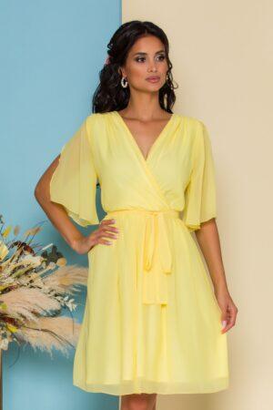 Rochie din voal galben cu manecile decupate
