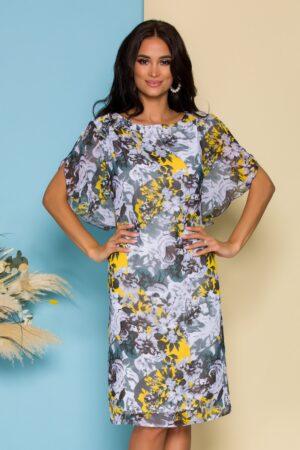 Rochie din voal gri cu imprimeu floral galben