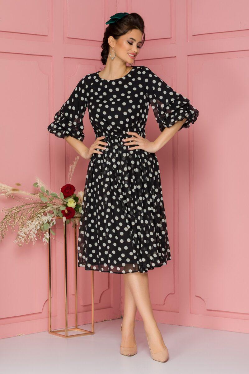 Rochie din voal negru cu buline