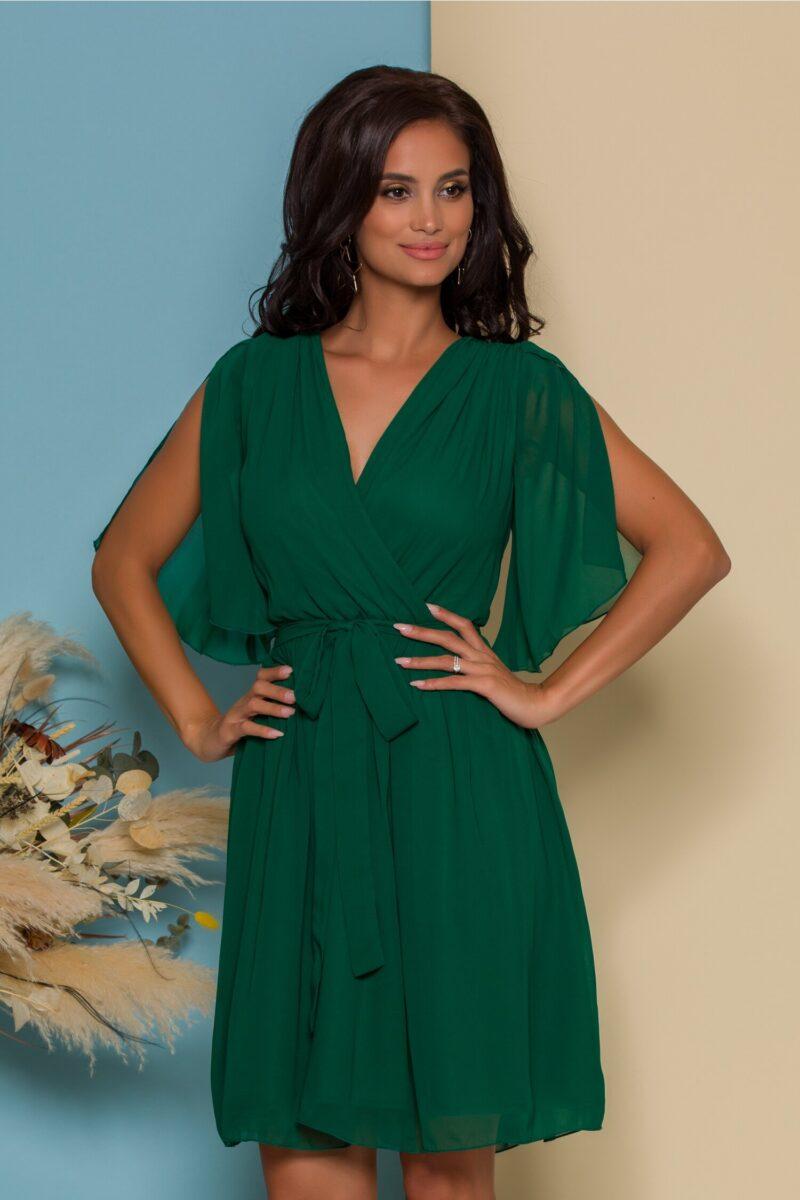 Rochie din voal verde cu manecile decupate