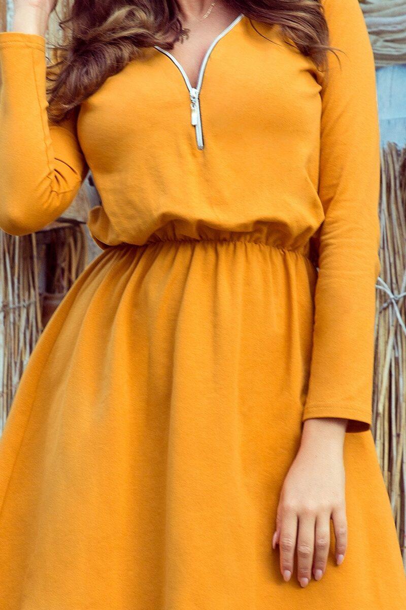 Rochie galben mustar midi din bumbac