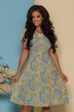 Rochie galbena cu imprimeuri bleu