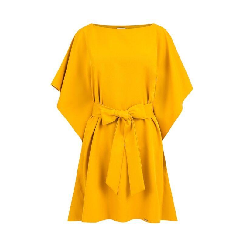 Rochie galbena de zi cu maneci largi si curea in talie