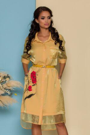 Rochie galbena tip camasa cu imprimeu si detalii din organza