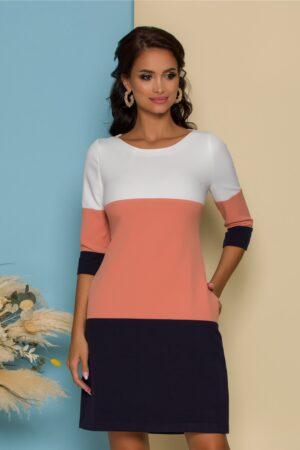 Rochie  in trei culori cu buzunare