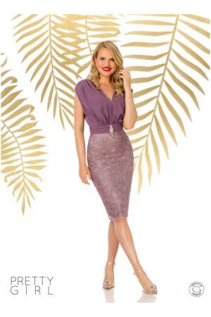 Rochie  lila cu aspect de doua piese