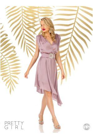 Rochie  lila cu lungime asimetrica si design petrecut