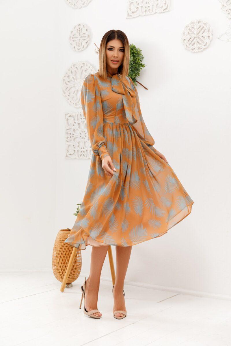 Rochie maro cu frunze turcoaz
