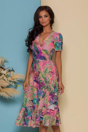 Rochie midi petrecuta roz cu imprimeuri florale colorate