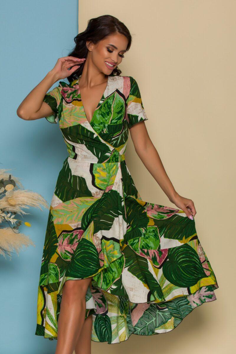 Rochie midi verde petrecuta cu imprimeu tropical