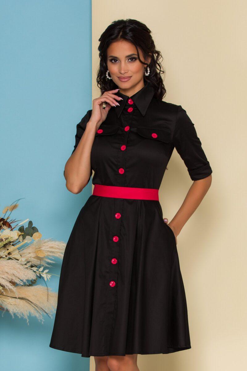 Rochie neagra cu cordon si nasturi rosii