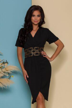 Rochie neagra cu design petrecut si talie accesorizata cu strasuri