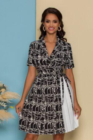 Rochie neagra cu imprimeu abstract