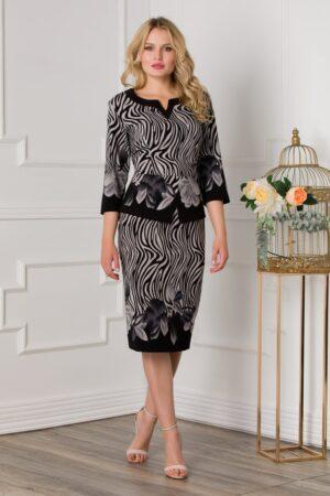 Rochie neagra cu imprimeu divers gri