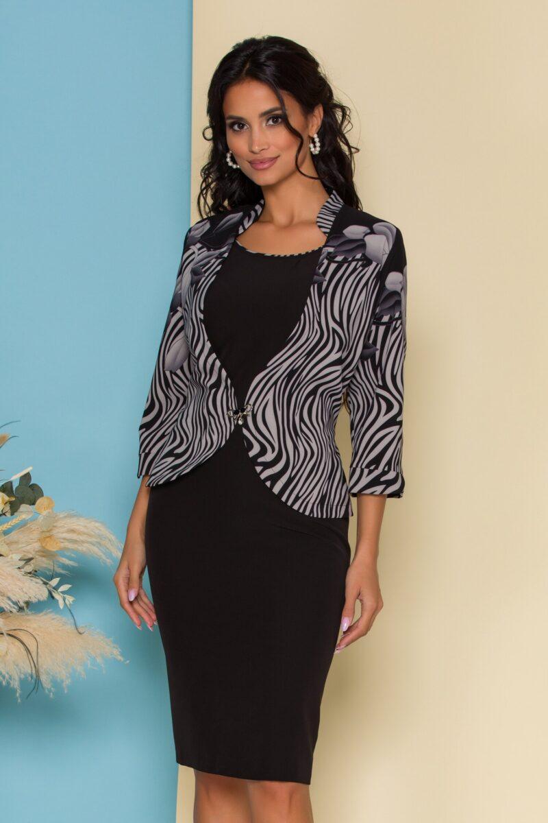 Rochie neagra cu imprimeu exotic gri