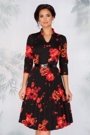 Rochie neagra cu imprimeu floral rosu