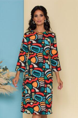Rochie neagra cu imprimeuri colorate
