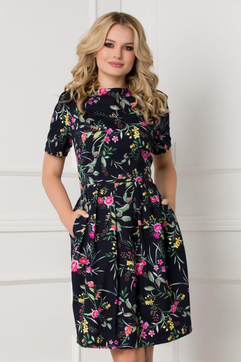 Rochie neagra cu imprimeuri florale