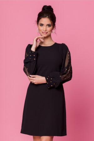 Rochie  neagra cu maneci accesorizate cu buliune aurii din sclipici