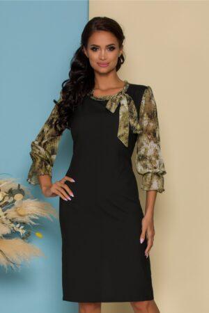 Rochie neagra cu maneci si guler cu imprimeu divers