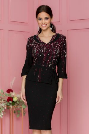 Rochie neagra cu peplum si imprimeuri florale bordo