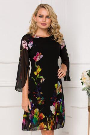 Rochie neagra din voal cu imprimeuri florale