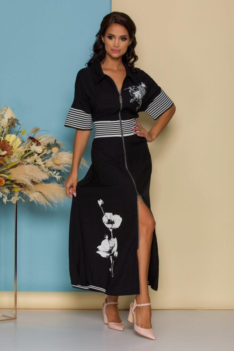 Rochie neagra lunga cu fermoar si detaliu floral