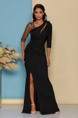 Rochie neagra lunga din lurex cu flori 3D si tull cu glitter