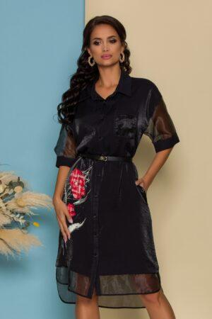 Rochie neagra tip camasa cu imprimeu si detalii din organza