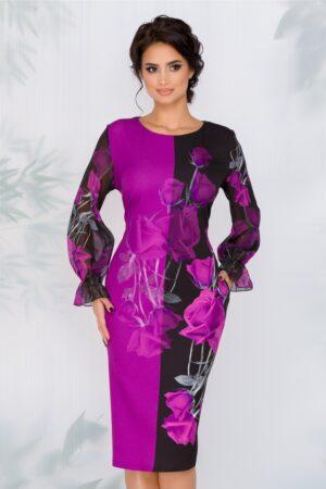 Rochie negru cu mov si imprimeu floral si maneci din voal