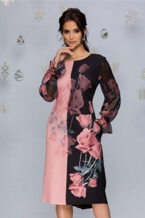 Rochie negru cu roz si imprimeu floral si maneci din voal