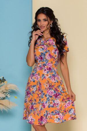 Rochie orange cu imprimeu floral si decupaj in V la decolteu