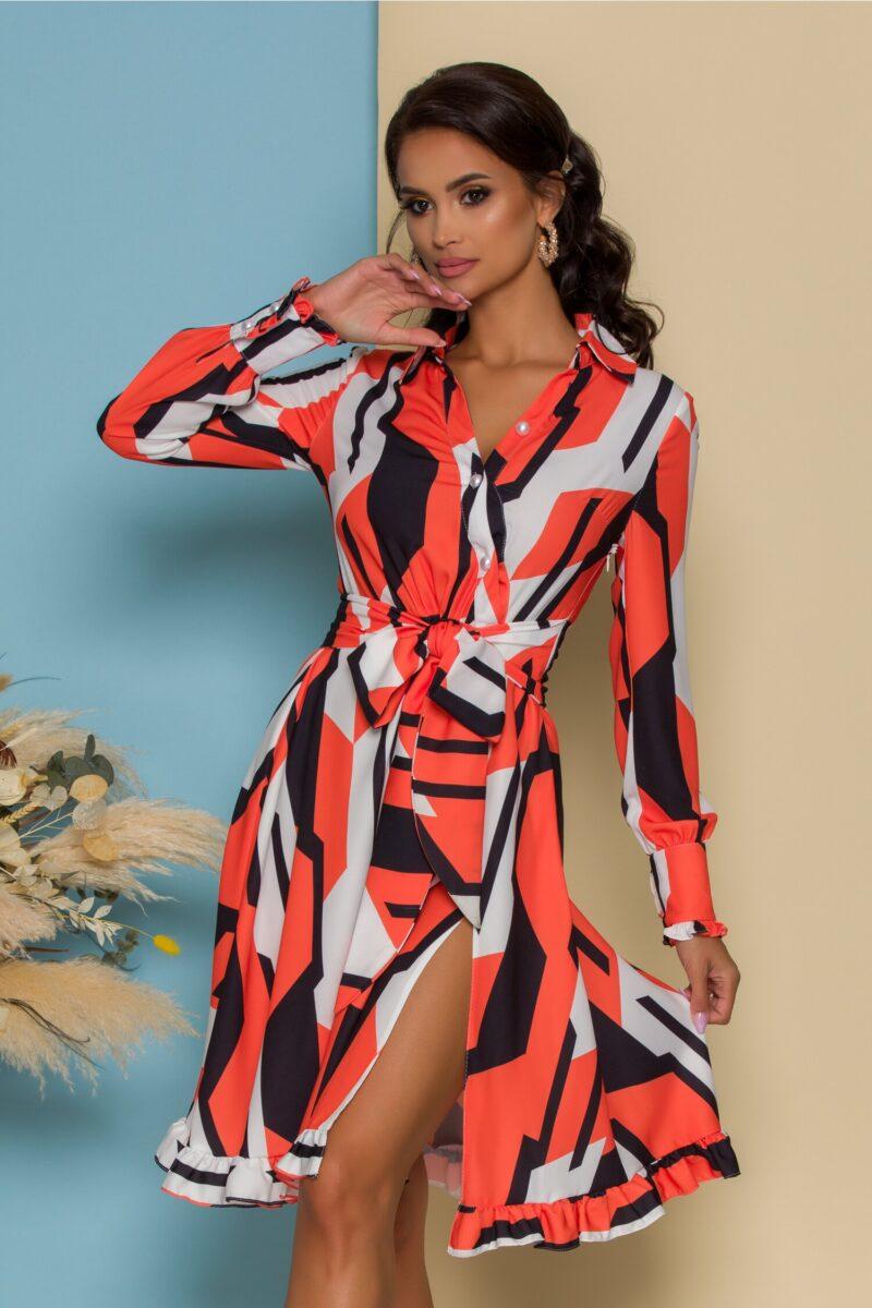 Rochie  orange cu negru si design petrecut
