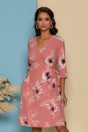Rochie petrecuta roz cu imprimeuri florale