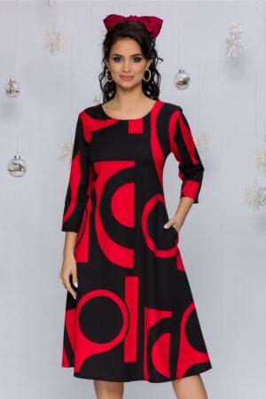 Rochie rosie cu imprimeuri geometrice negre