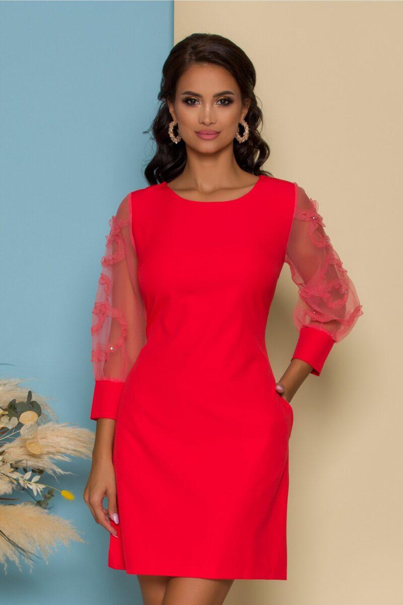 Rochie rosie cu maneci din organza