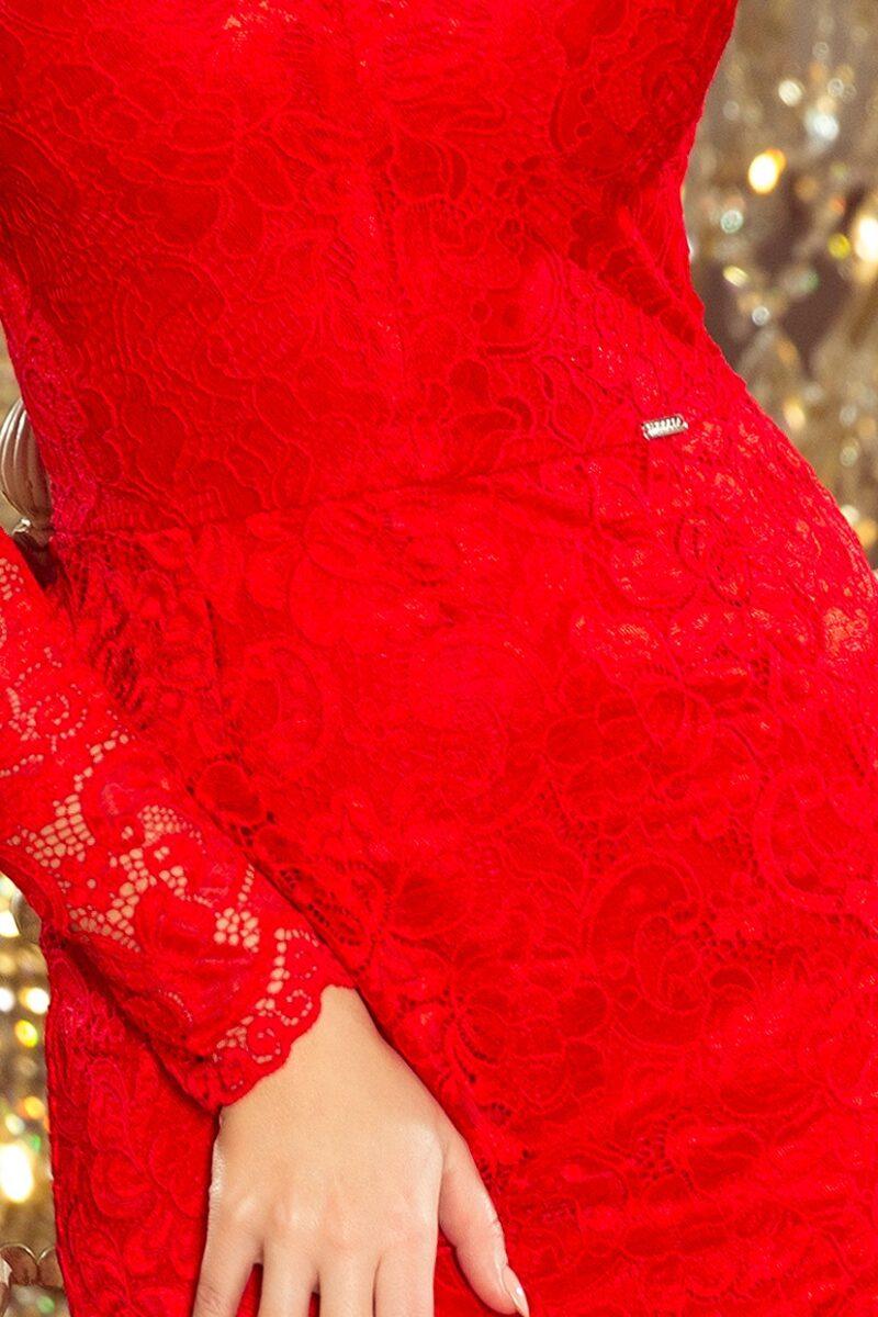 Rochie rosie midi cu maneci lungi