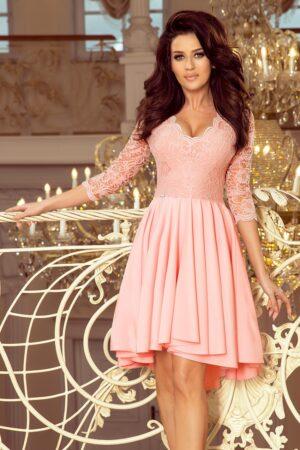 Rochie roz asimetrica cu aplicatii din dantela
