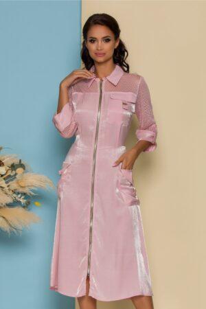 Rochie roz cu fermoar si buzunare