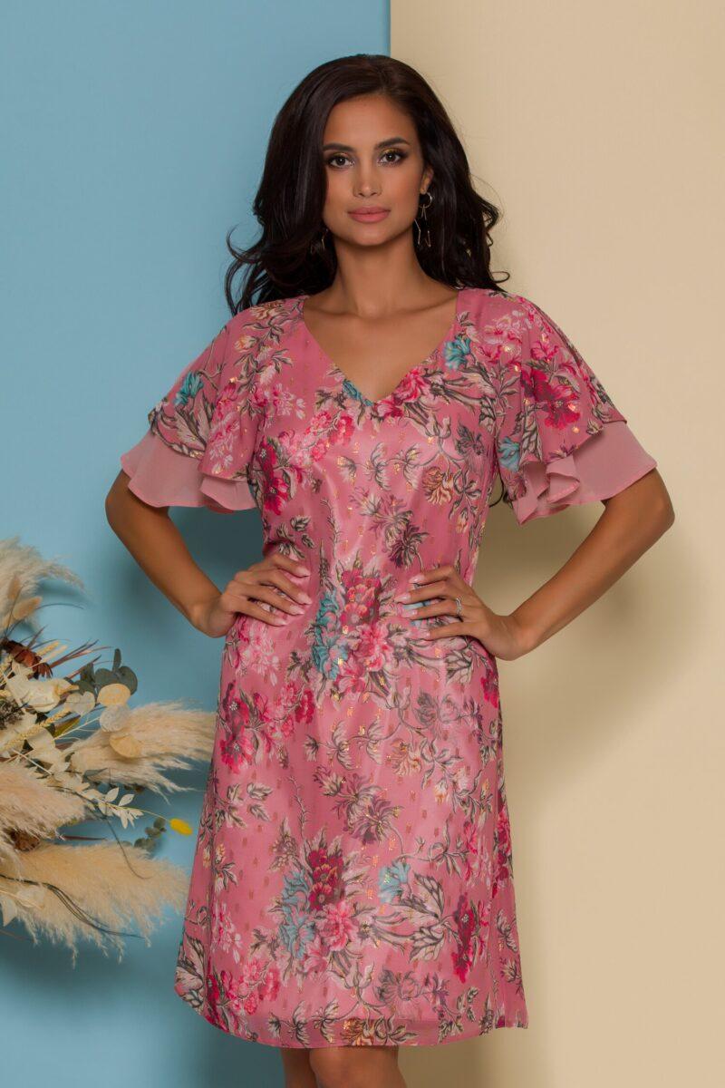Rochie roz cu imprimeuri florale si volanase la maneci
