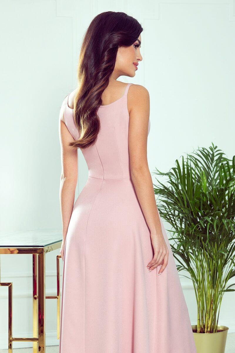 Rochie roz eleganta lunga cu bretele