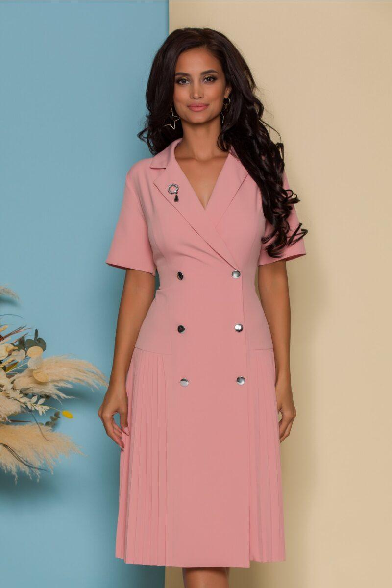 Rochie roz pal stil sacou cu maneci scurte