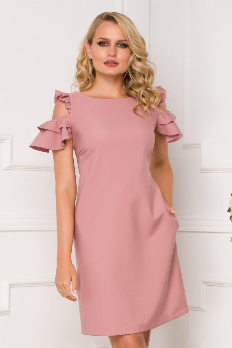 Rochie roz prafuit cu decupaje la umeri si buzunare functionale