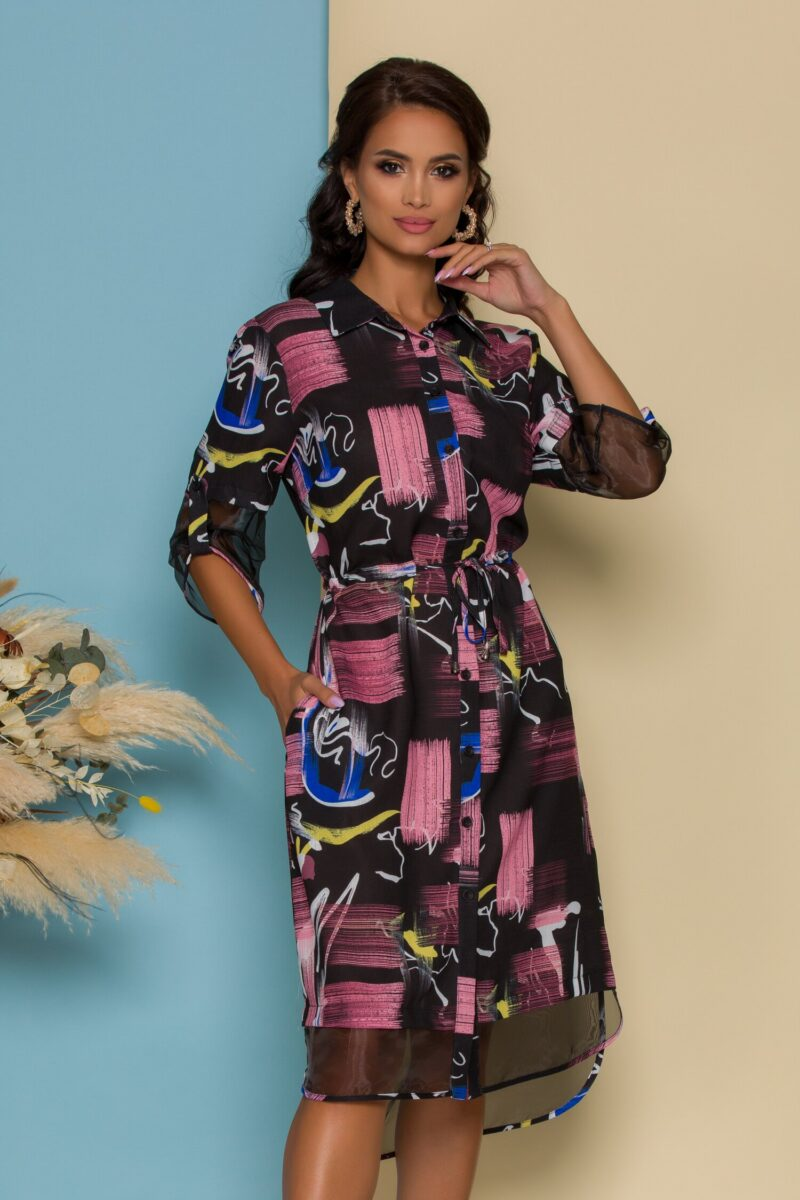 Rochie tip camasa neagra cu imprimeuri roz