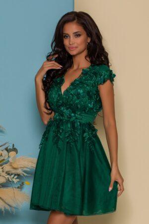 Rochie verde cu broderie florala 3D