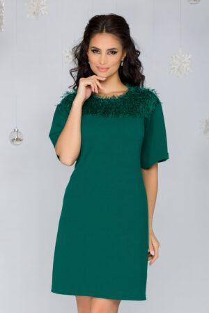 Rochie  verde cu franjuri si fir lurex stralucitor