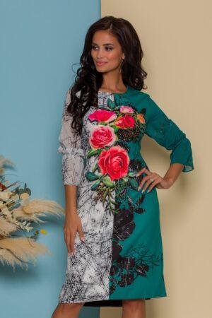 Rochie verde cu imprimeuri florale si strasuri